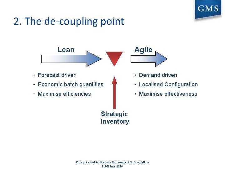 2. The de-coupling point Lean Agile • Forecast driven • Demand driven • Economic