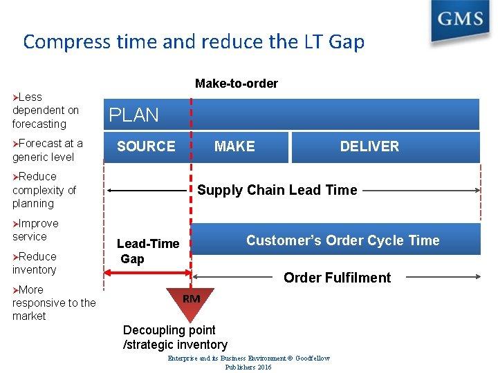 Compress time and reduce the LT Gap Make-to-order ØLess dependent on forecasting ØForecast at