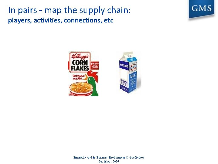 In pairs - map the supply chain: players, activities, connections, etc Enterprise and its