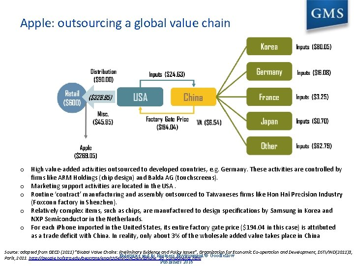 Apple: outsourcing a global value chain o High value-added activities outsourced to developed countries,