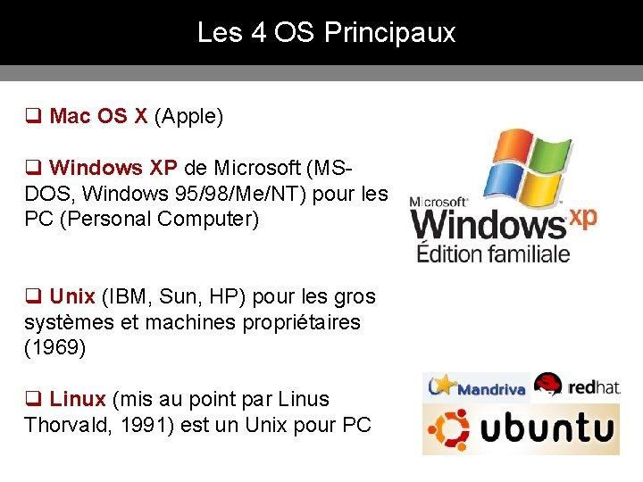 Les 4 OS Principaux q Mac OS X (Apple) q Windows XP de Microsoft