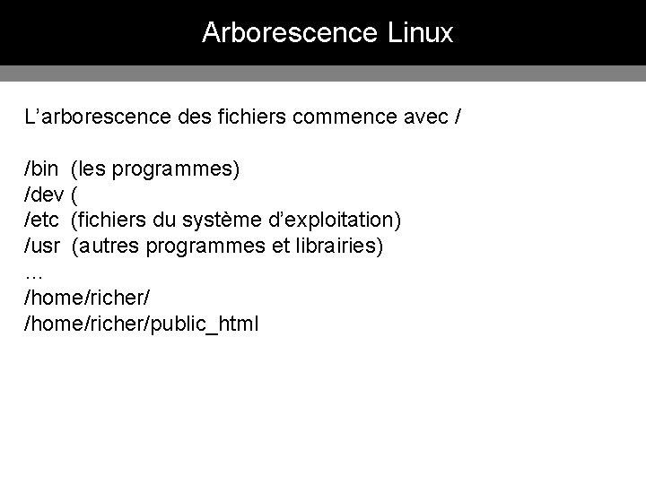 Arborescence Linux L'arborescence des fichiers commence avec / /bin (les programmes) /dev ( /etc