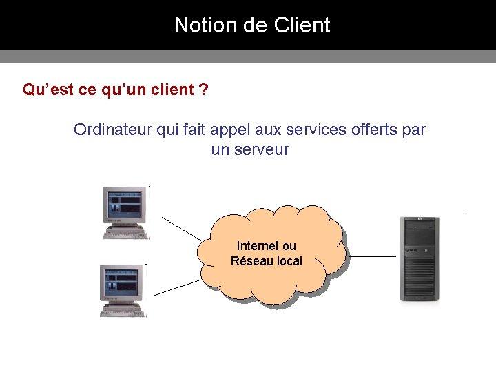 Notion de Client Qu'est ce qu'un client ? Ordinateur qui fait appel aux services