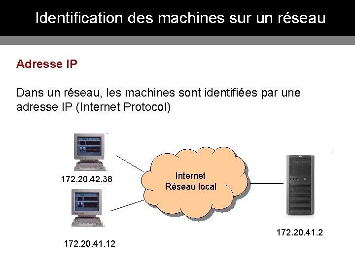 Identification des machines sur un réseau Adresse IP Dans un réseau, les machines sont