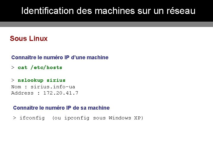Identification des machines sur un réseau Sous Linux Connaître le numéro IP d'une machine