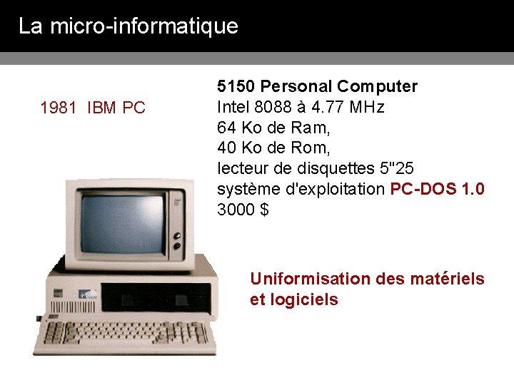 La micro-informatique 1981 IBM PC 5150 Personal Computer Intel 8088 à 4. 77 MHz