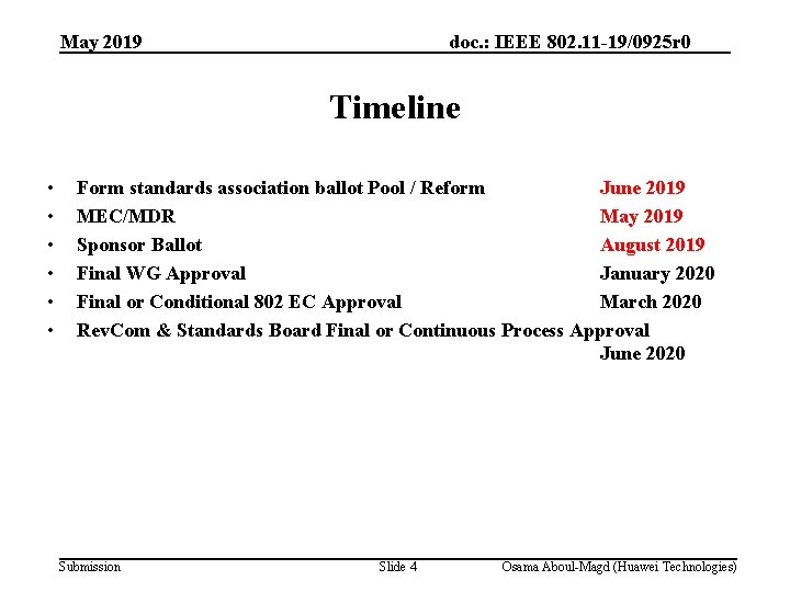 May 2019 doc. : IEEE 802. 11 -19/0925 r 0 Timeline • • •