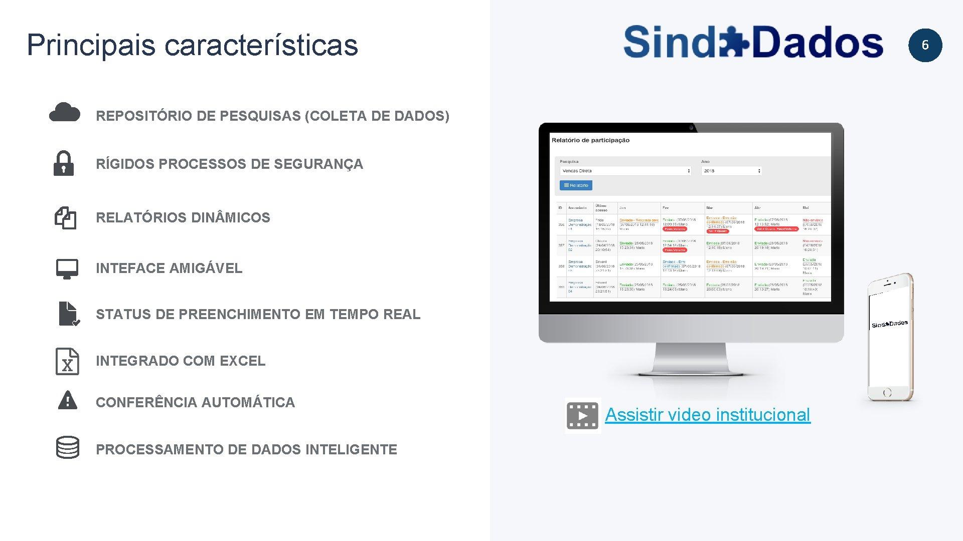 Principais características 6 REPOSITÓRIO DE PESQUISAS (COLETA DE DADOS) RÍGIDOS PROCESSOS DE SEGURANÇA RELATÓRIOS