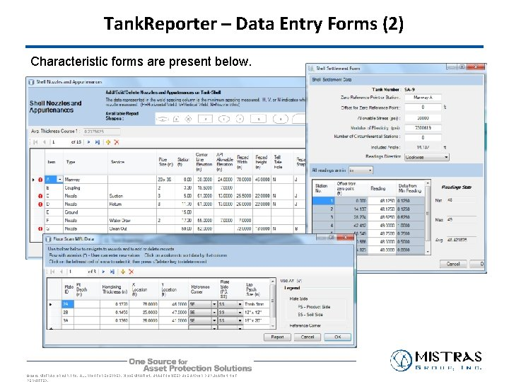 Tank. Reporter – Data Entry Forms (2) Characteristic forms are present below. © 2012