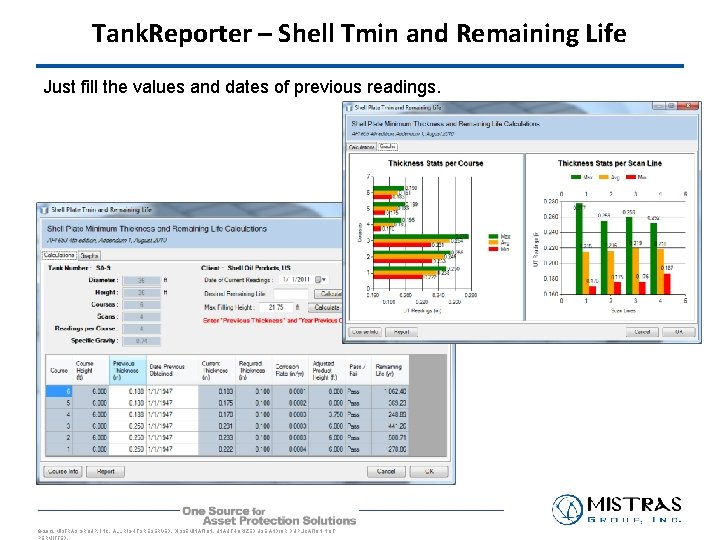 Tank. Reporter – Shell Tmin and Remaining Life Just fill the values and dates