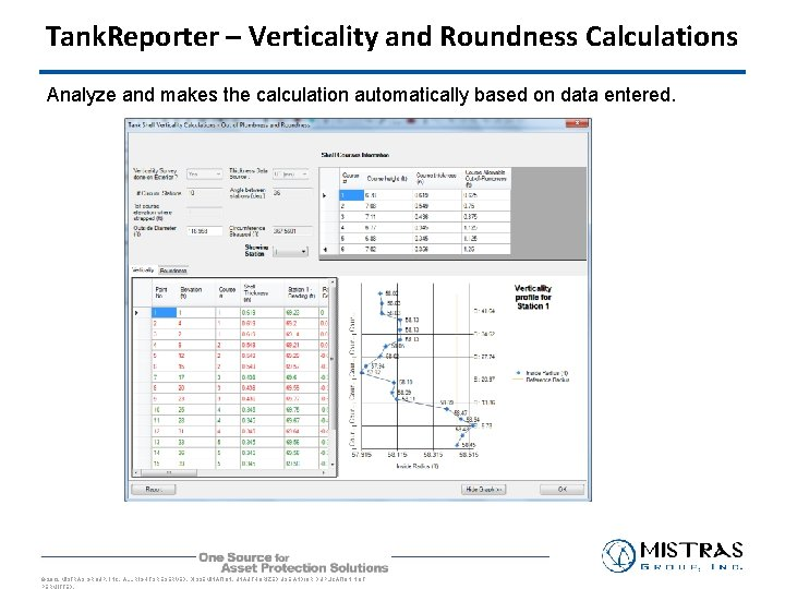 Tank. Reporter – Verticality and Roundness Calculations Analyze and makes the calculation automatically based