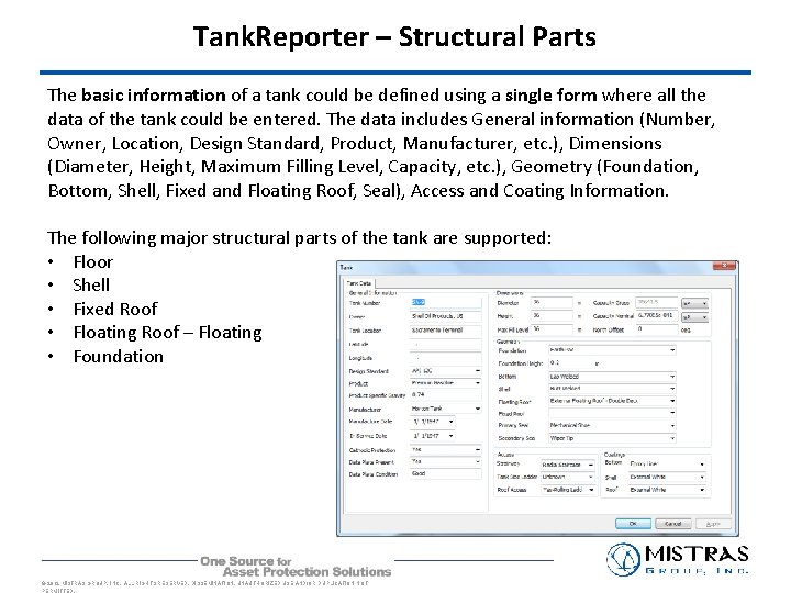 Tank. Reporter – Structural Parts The basic information of a tank could be defined