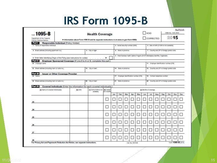 IRS Form 1095 -B 11/26/2020 15