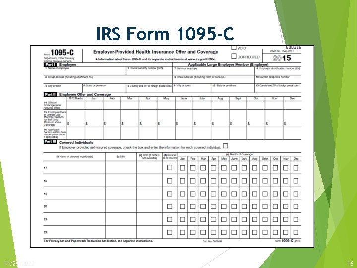 IRS Form 1095 -C 11/26/2020 16
