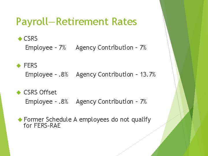 Payroll—Retirement Rates CSRS Employee – 7% Agency Contribution – 7% FERS Employee –. 8%