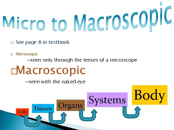 � See page 8 in textbook � Microscopic ~seen only through the lenses of