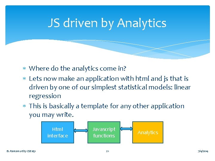 JS driven by Analytics Where do the analytics come in? Lets now make an