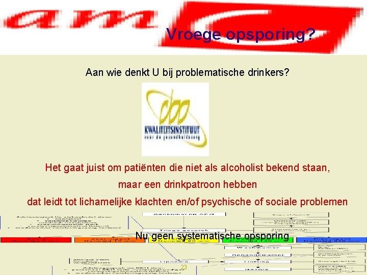 Vroege opsporing? Aan wie denkt U bij problematische drinkers? Het gaat juist om patiënten