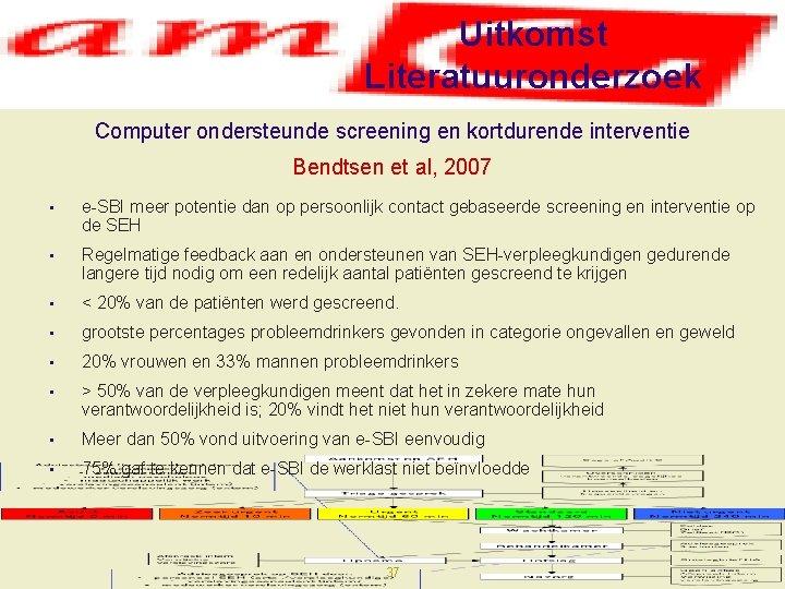 Uitkomst Literatuuronderzoek Computer ondersteunde screening en kortdurende interventie Bendtsen et al, 2007 • e-SBI