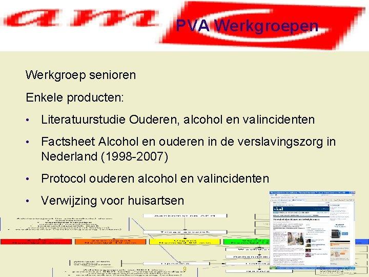 PVA Werkgroepen Werkgroep senioren Enkele producten: • Literatuurstudie Ouderen, alcohol en valincidenten • Factsheet