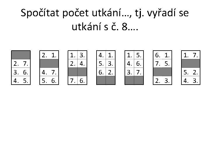 Spočítat počet utkání…, tj. vyřadí se utkání s č. 8…. 2. 7. 3. 6.