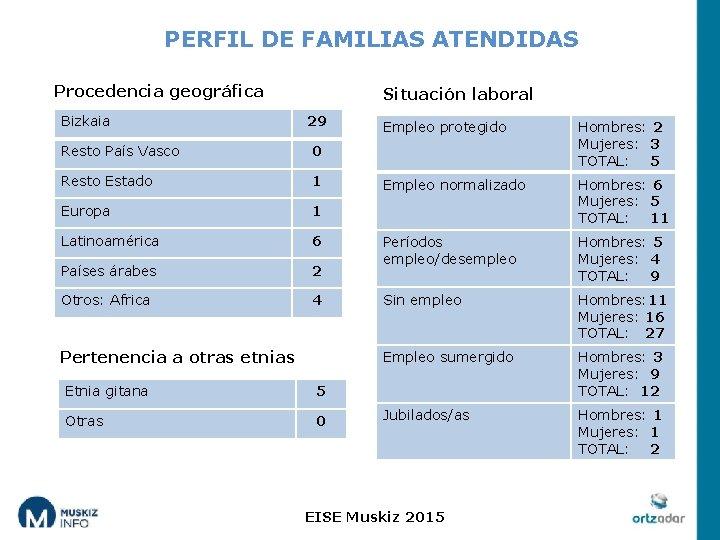 PERFIL DE FAMILIAS ATENDIDAS Procedencia geográfica Bizkaia Situación laboral 29 Resto País Vasco 0
