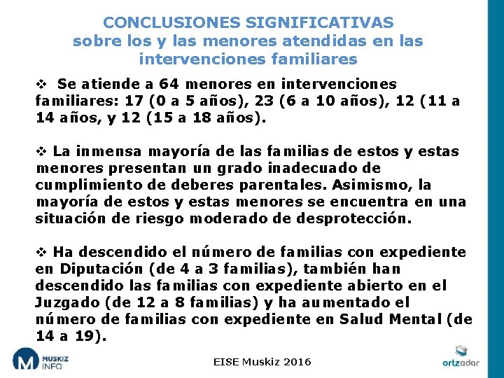 CONCLUSIONES SIGNIFICATIVAS sobre los y las menores atendidas en las intervenciones familiares v Se