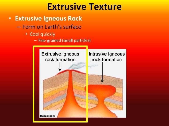 Extrusive Texture • Extrusive Igneous Rock – Form on Earth's surface • Cool quickly