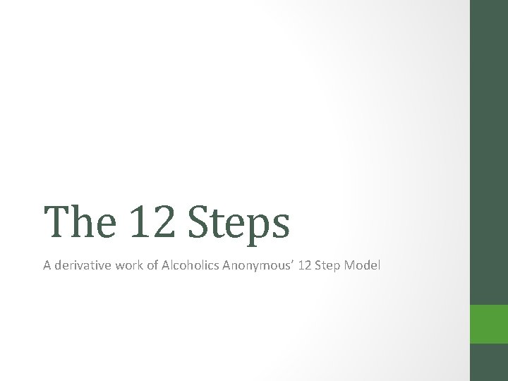 The 12 Steps A derivative work of Alcoholics Anonymous' 12 Step Model