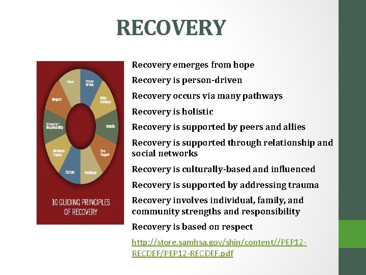 RECOVERY Recovery emerges from hope Recovery is person-driven Recovery occurs via many pathways Recovery