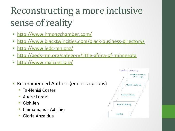 Reconstructing a more inclusive sense of reality • • • http: //www. hmongchamber. com/