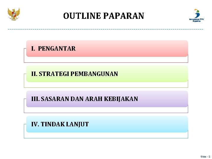 OUTLINE PAPARAN I. PENGANTAR II. STRATEGI PEMBANGUNAN III. SASARAN DAN ARAH KEBIJAKAN IV. TINDAK