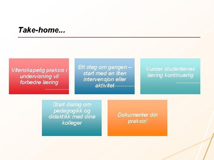 Take-home. . . Vitenskapelig praksis i undervisning vil forbedre læring Ett steg om gangen