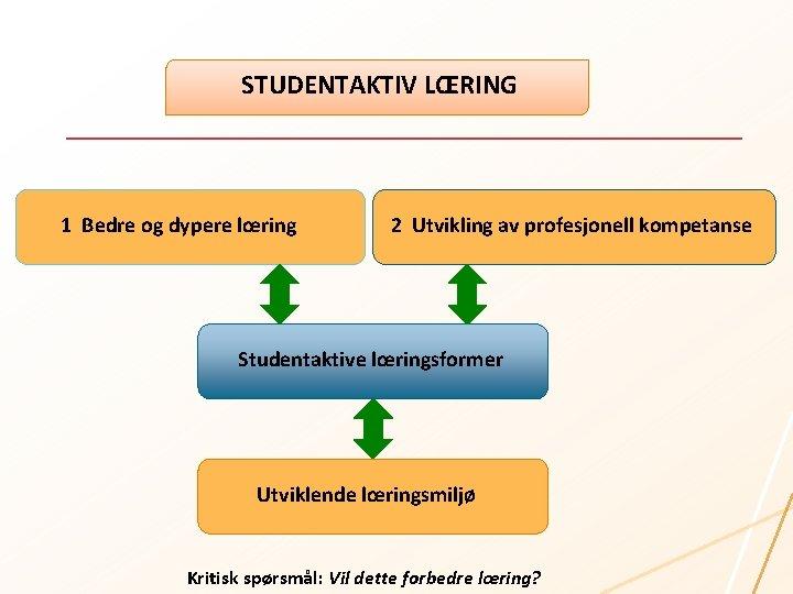 STUDENTAKTIV LŒRING 1 Bedre og dypere lœring 2 Utvikling av profesjonell kompetanse Studentaktive lœringsformer