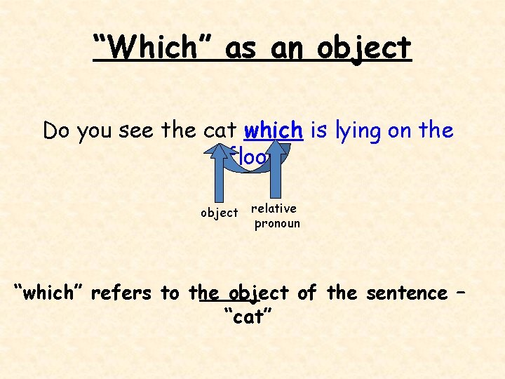 """""""Which"""" as an object Do you see the cat which is lying on the"""