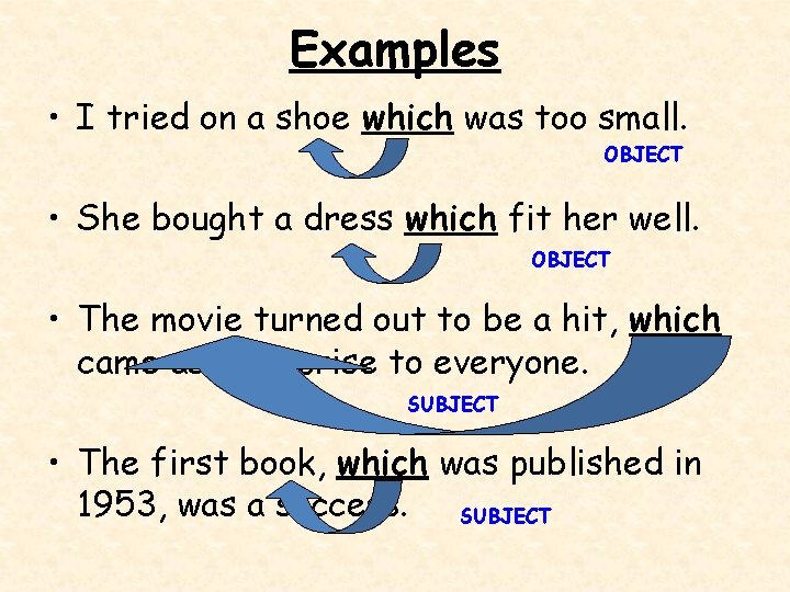 Examples • I tried on a shoe which was too small. OBJECT • She