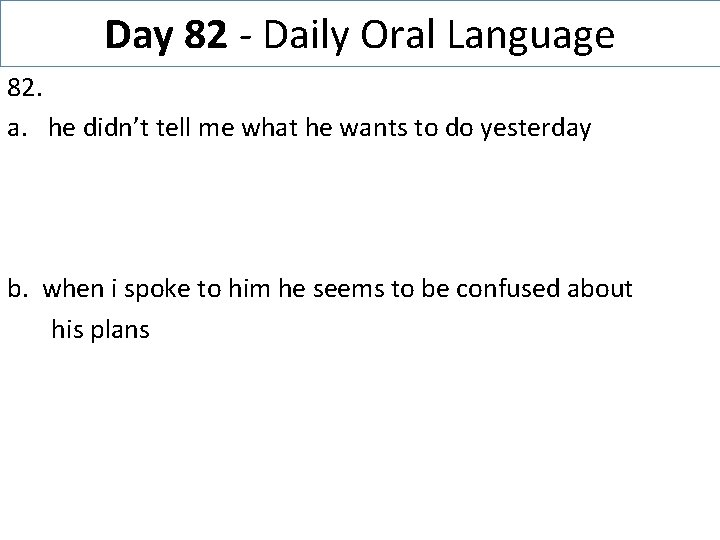 Day 82 - Daily Oral Language 82. a. he didn't tell me what he
