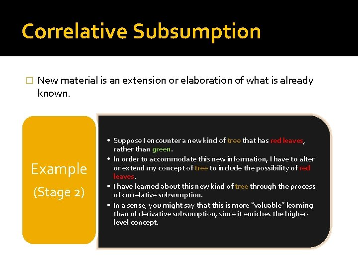 Correlative Subsumption � New material is an extension or elaboration of what is already