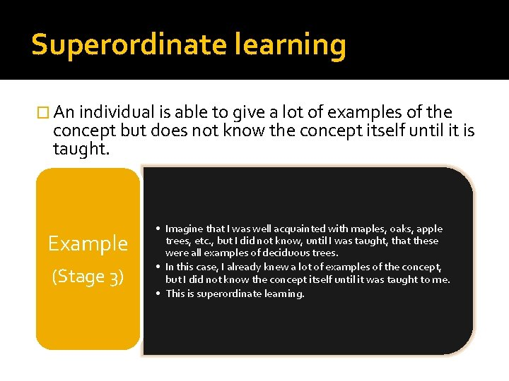 Superordinate learning � An individual is able to give a lot of examples of