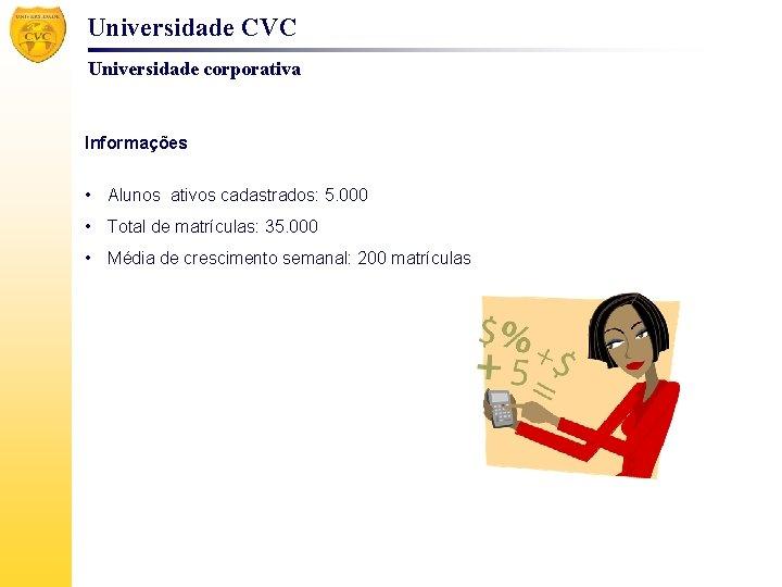 Universidade CVC Universidade corporativa Informações • Alunos ativos cadastrados: 5. 000 • Total de