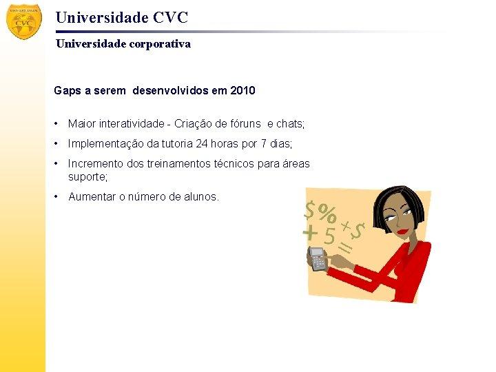 Universidade CVC Universidade corporativa Gaps a serem desenvolvidos em 2010 • Maior interatividade -