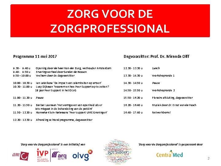 ZORGTitel VOOR DE en eronder eventueel ondertitel ZORGPROFESSIONAL Programma 11 mei 2017 Dagvoorzitter: Prof.