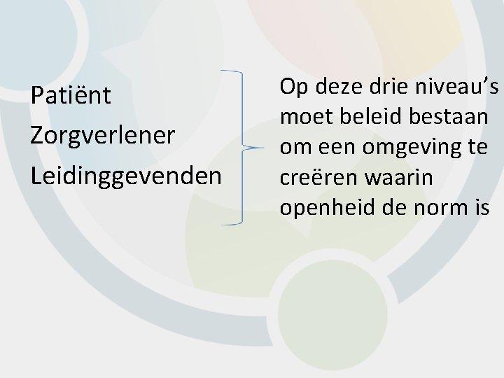 Patiënt Zorgverlener Leidinggevenden Op deze drie niveau's moet beleid bestaan om een omgeving te