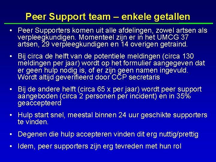 Peer Support team – enkele getallen • Peer Supporters komen uit alle afdelingen, zowel