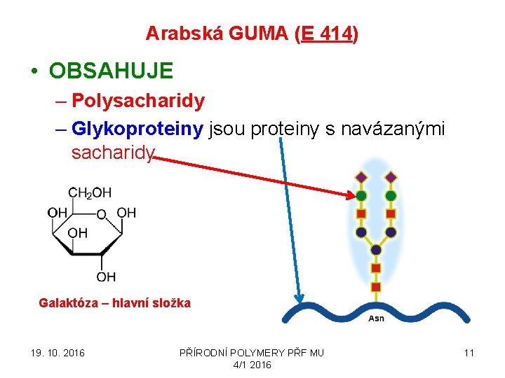 Arabská GUMA (E 414) • OBSAHUJE – Polysacharidy – Glykoproteiny jsou proteiny s navázanými