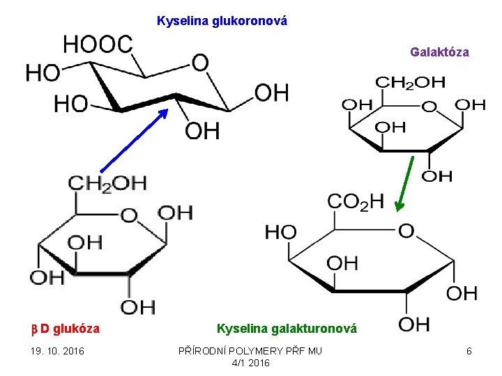 Kyselina glukoronová Galaktóza b D glukóza 19. 10. 2016 Kyselina galakturonová PŘÍRODNÍ POLYMERY PŘF