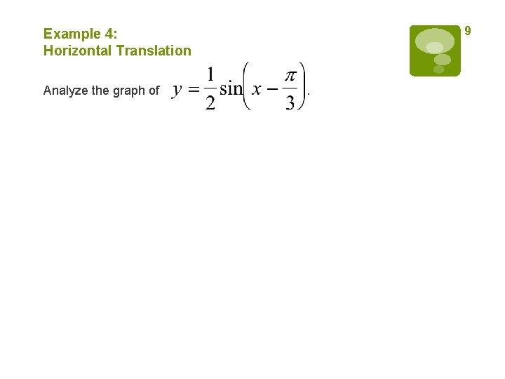 9 Example 4: Horizontal Translation Analyze the graph of .