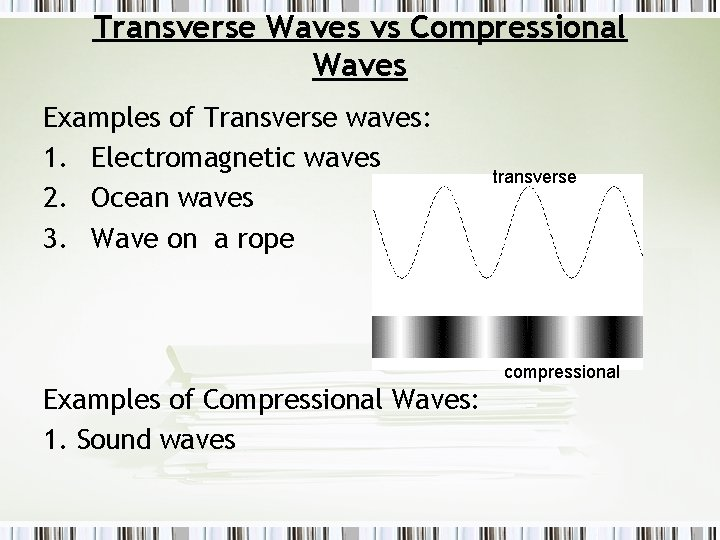 Transverse Waves vs Compressional Waves Examples of Transverse waves: 1. Electromagnetic waves 2. Ocean