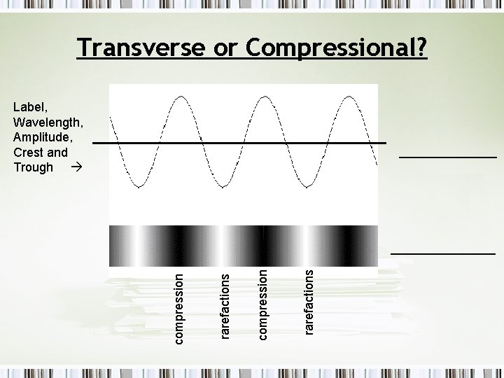 Transverse or Compressional? Label, Wavelength, Amplitude, Crest and Trough _______ rarefactions compression ________