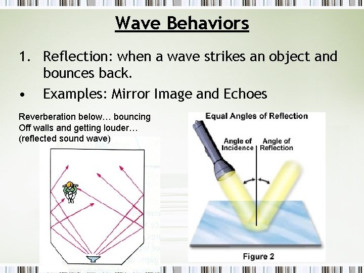 Wave Behaviors 1. Reflection: when a wave strikes an object and bounces back. •